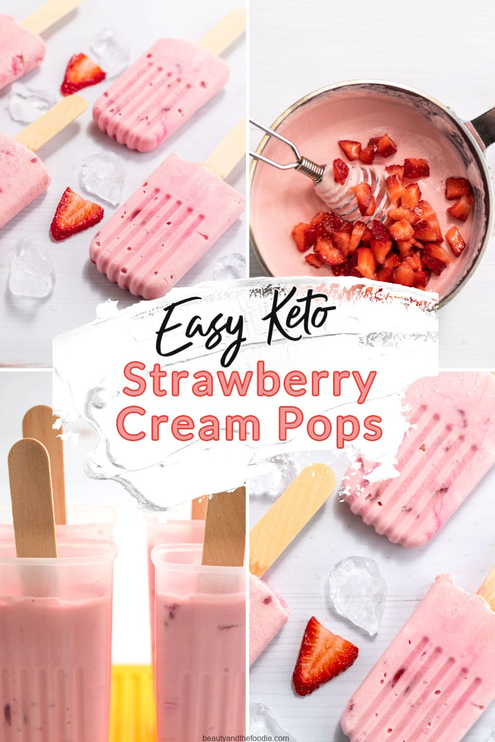 Keto strawberry cream pops with photos showing instructions.