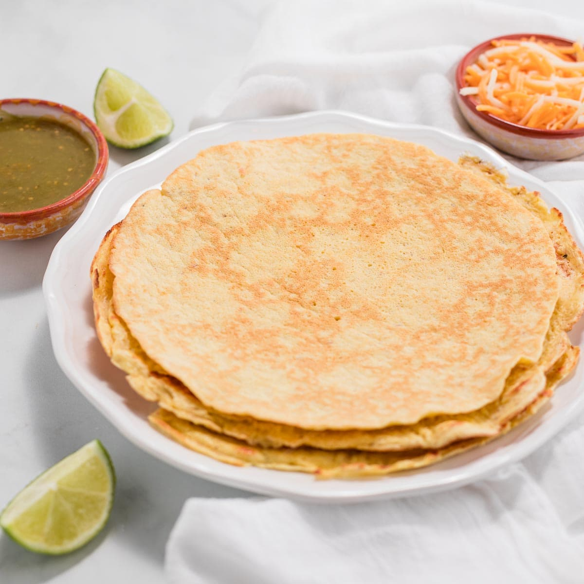 A stack of low carb tortillas.