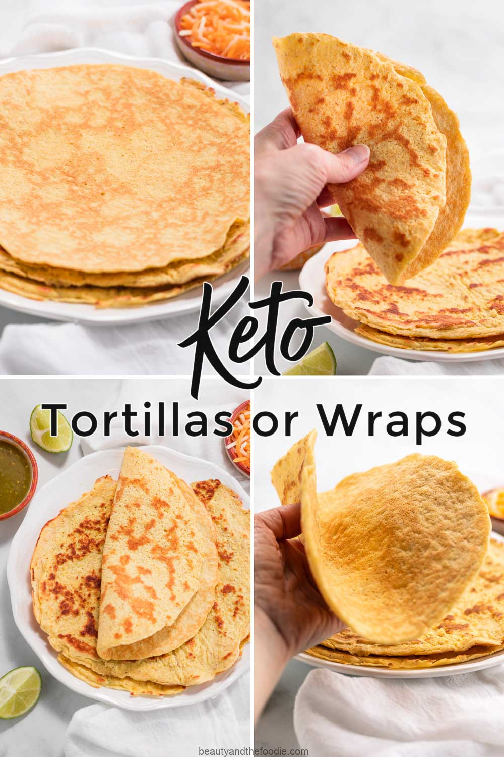 A four photo collage of making keto tortillas.
