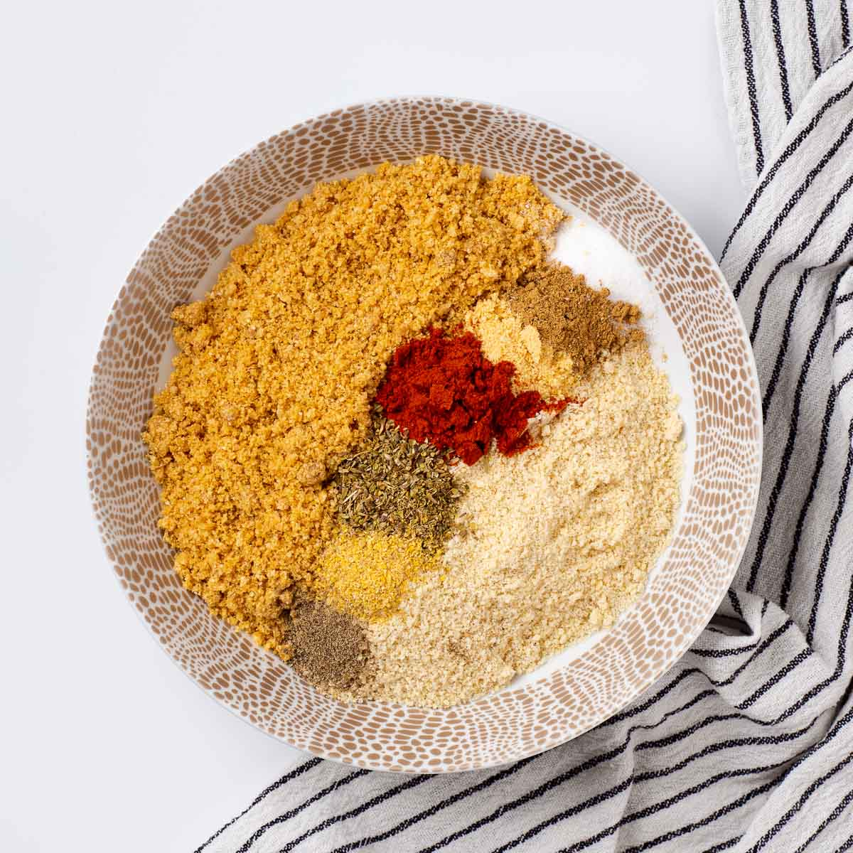 Spices & low carb breading in a bowl.